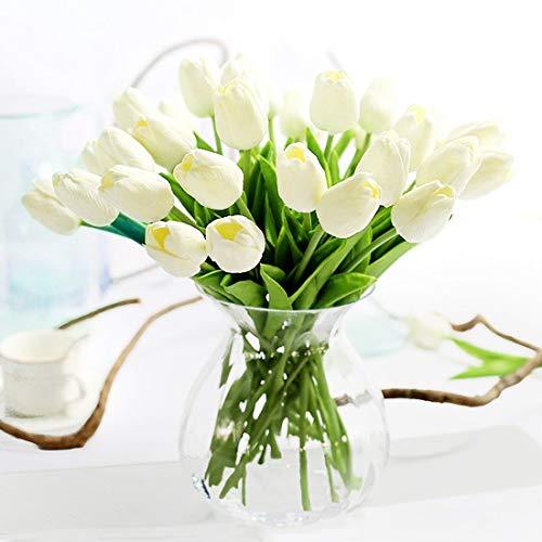JUSTOYOU 10 STK PU Real Touch Latex Künstliche Tulpen Gefälschte Tulpen Blumen Blumensträuße Blumen Arrangement für Home Room Hochzeitsstrauß Party Herzstück Dekor Weiß