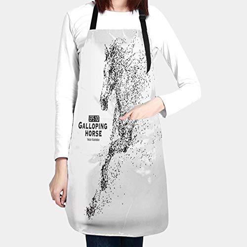 Airmark Delantales de Cocina con Bolsillo,Caballo al Galope,partículas,ilustración Vectorial,Delantal Impermeables para Hombre Mujer Delantale para Jardinería Restaurante Barbacoa Cocinar Horn
