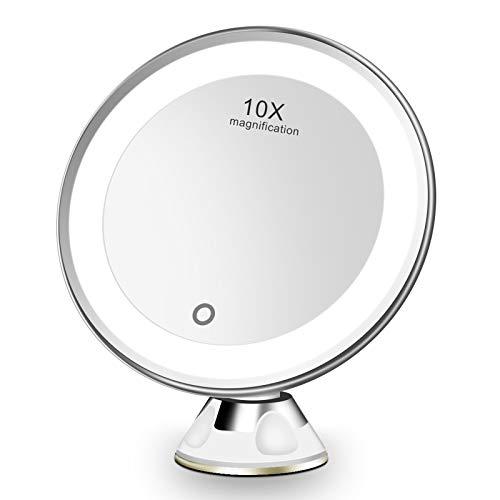 Espejo Maquillaje con Luz LED Aumento 10X Afeitado Espejo, Espejo de Baño, Espejo de Aumento de Pared con Poderoso Ventosa, Espejo de Vanidad Rotación 360°, Carga con USB o Batería (Blanco)