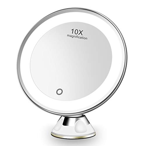 Espejo Maquillaje con Luz LED Aumento 10X Afeitado Aumento con Luz, Espejo Aumento LED Cosmético con Ampliación 10X y...