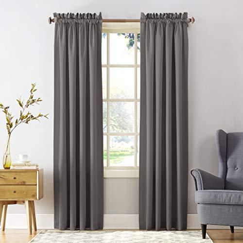 "Sun Zero Barrow Energy Efficient Rod Pocket Curtain Panel, 54"" x 63"", Stone, One Panel"