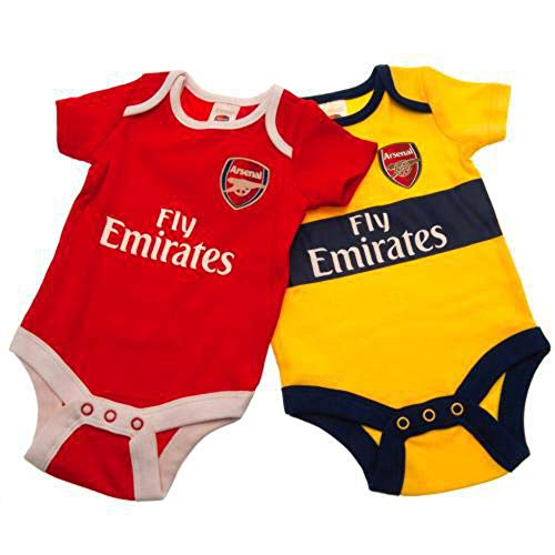 Arsenal FC Cute Baby Bodysuits 2 Pack - Authentic EPL (0-3 Months)