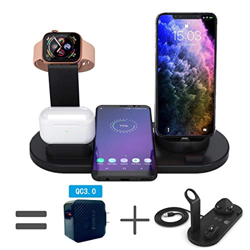 BNIIY Updated Version Wireless Charger,4 in 1 Charging Station for Apple Watch iPhone Airpods Pro,Qi Fast Wireless Charging pad Stand for iPhone 11 Pro Max/XS/XR/8/Samsung