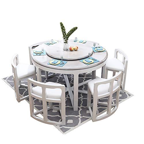 Mesa de Comedor, Mesa de Comedor de mármol y Juego de sillas Juego de 9 Piezas Mesa de Comedor Redonda con Mueble de Cocina Giratorio 130cm / 150cm,Blanco,130cm Table 6 Chairs
