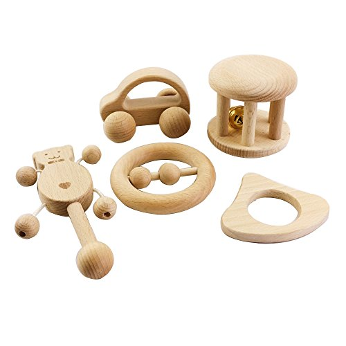 baby tete Montessori Juguetes Set 5pc Enfermería Madera de Sonajeros Bebé Sensorial Actividad Teether Rattle
