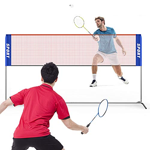 Badminton Net with Poles for Backyard Portable Assemblable Detachable Stainless Steel Badminton Stand with Carry Bag for OutdoorIndoor Court Backyard Beach