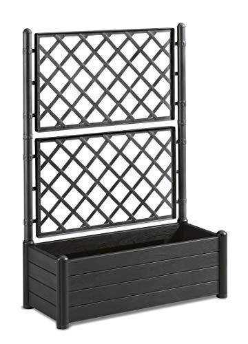 Rankgitter XL in Anthrazit mit Spalier und Blumenkasten 90L - Wetterresistent und UV-Beständig - Ideal für Garten, Balkon und als Sichtschutz
