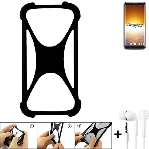 K-S-Trade® Handyhülle Für Energizer P600S Schutzhülle Bumper Silikon Schutz Hülle Cover Case Silikoncase Silikonbumper TPU Softcase Smartphone, Schwarz (1x), Headphones