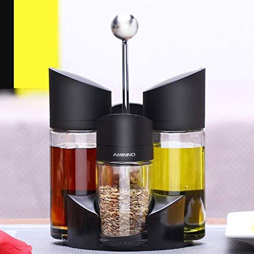 xiaoshenlu Menage-Set, 5-teilig, Dosierer, salz und Pfeffer streuer mit öl und Essig, Zwei 170ml, Zwei 100ml, und Ständer