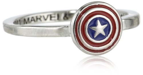 Marvel Comics Captain America Shield Enamel Ring, Size 8