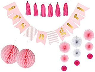 It's A Girl Baby Shower Banner and Decorations Kit | Pink Gold with Extra Long Gold Glitter Twine for Easy Hanging | Cardstock Flags Gender Reveal Christening | Pink Tassels Fans Poms | CC Party Co.