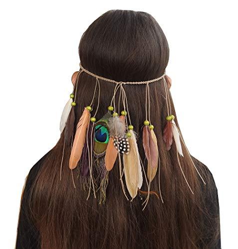 Gele veer - indiase band - indiaan - elastisch - veren - kinderen - volwassenen - accessoires - kostuum - vermomming - carnaval - halloween