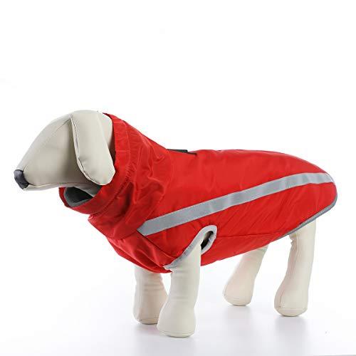 ubest Wasserdicht Hundemantel mit Fleece, Reflektierend Hundejacke Warm Wintermantel Winterjacke für Mittelere Große Hunde, Rot, 6XL