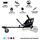 Hishine Hoverboard Go Kart Seat Attachment Conversion Hoverboard Cart Buggy Accessories One Wheel Hoverboard for Kids, Comfortable Seat, Durable Straps, Black