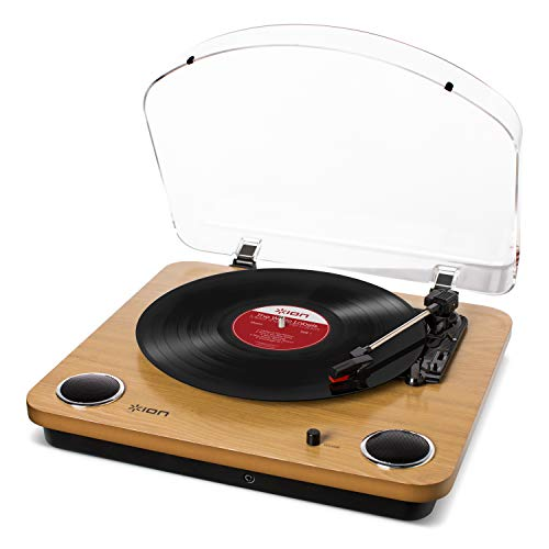 ION Audio Max LP - Three Speed Vinyl Conversion Turntable with Stereo Speakers, USB Output to Convert Vinyl Records to Digital Files and Standard RCA & Headphone Outputs - Natural Wood Finish