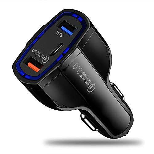 MY99 USHOMI Cargador de Coche USB Dual Tipo C Adaptador de Toma de Corriente de Coche de Carga rápida 5V 3.1A para Smartphone Tablet Navigator Negro