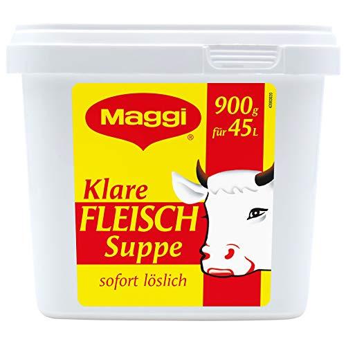 Maggi Klare Fleischsuppe aus Fleischextrakt mit Kräutereinlage & fein gehacktem Gemüse, Sofort löslich, 1er Pack (1 x 900g Gastro Box)