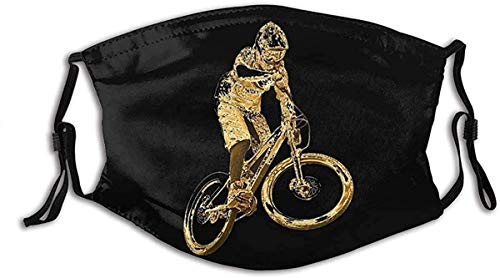 Reusable Cloth Face Mask Washable Gold Downhill Mountain Bike Anti Filter Dust Fabric Mouth Mask Pm2.5 Printed for Women & Men