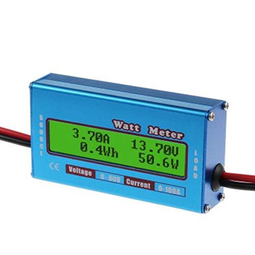 Justdodo Monitor Digital Medidor de vatios LCD 60V / 100A DC Amperímetro Analizador de Amplificador de batería RC de Alta precisión Herramienta Power Energy Watt Meter-Blue-1 Tamaño