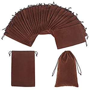 NBEADS 30 bolsas de terciopelo de 23 x 15 cm, bolsas de regalo rectangulares para bodas, bolsas de dulces, regalos de fiesta, color marrón coco