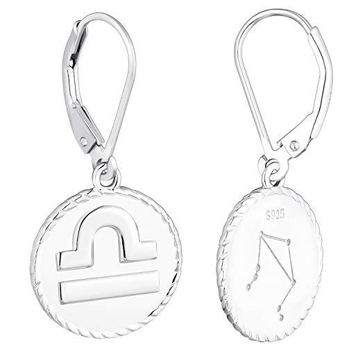 YL Silber Waage Ohrringe-925 Sterling Silber CZ Horoskop Sternzeichen 12 Konstellation Ohrringe für Frauen und Mädchen