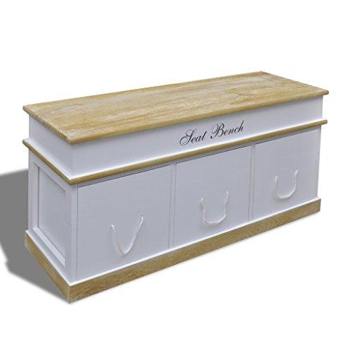 Festnight Storage Bench,Cassapanca Scarpiera Contenitore Legno Moderna con Casetti per Ingresso
