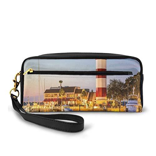 Pencil Case Pen Bag Pouch Stationary,Hilton Head South Carolina Lighthouse Twilight Water Reflection Boats Idyllic,Small Makeup Bag Coin Purse