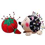 2PZ Portaspilli a Forma di Riccio e Pomodoro, Simpatico Puntaspilli da Cucito con Morbido Tessuto in Cotone Cuscino a Spillo Supporto per Stoffa Trapuntata Patchwork Artigianato e Cucito Artistico