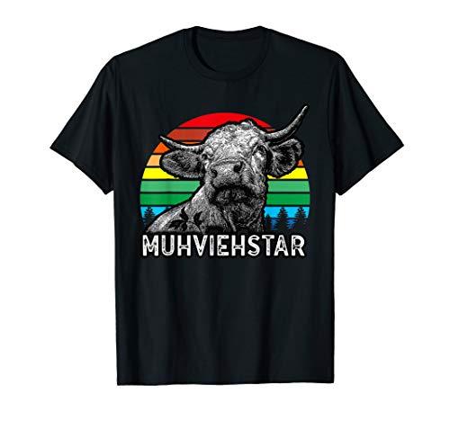 Lustiges Landwirt Retro Muhviehstar Kuh Kühe Rindvieh Ochse T-Shirt