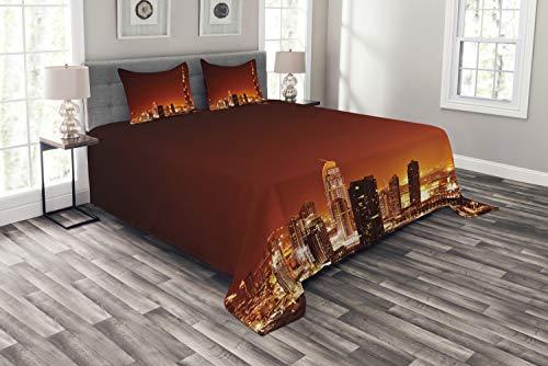 ABAKUHAUS Landschaft Tagesdecke Set, East Dubai Landschaft, Set mit Kissenbezügen Kein verblassen, für Doppelbetten 220 x 220 cm, Mehrfarbig