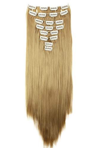 PRETTYSHOP XL 60cm 7 Teile Set CLIP IN EXTENSIONS Haarverlängerung Haarteil Glatt Naturblond CE16