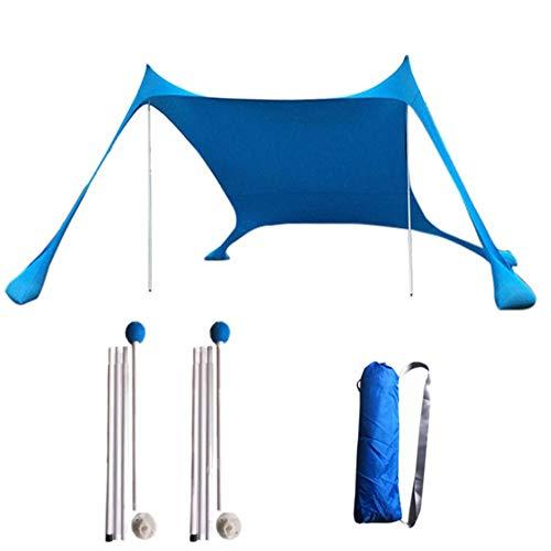 Strumenti di campeggio Con 2 pali leggeri in acciaio pieghevole 4 Sandbag Ancore grande portatile Rain Camping tenda parapetto per le vacanze estive 3-4 Persona Colore blu Design aperto Baldacchino is