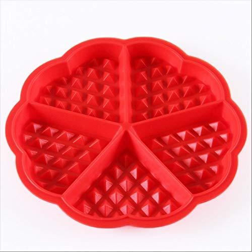 Wss - Rouge Plats à Four Silicone de Grade Alimentaire Gaufre Cuisson Moules Mini Coeur Gaufre Crêpe Moule Muffin Moule Chocolat Poêle Plateau Moule Rond Beau Forme