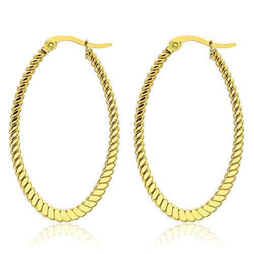 Cinnanal Gold Drop Earrings for Girls, Mens Hugging Hoop Earrings, Big Oval Gold 30mm Stainless Steel 1 Pair