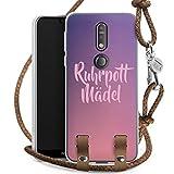 DeinDesign Carry Case kompatibel mit Nokia 7.1 Hülle mit Kordel aus Leder Handykette zum Umhängen braun Silber Bergwerk Ruhrpott Dortmunder Mädchen
