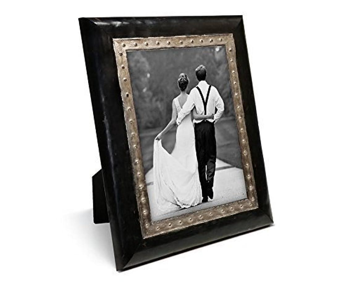 Custom Wood Steampunk Photo Frame Metal, Hammeredlook, Desktop Distressed Wedding Photo Frame,Unique Gift Frame, Teen Frame Wood Picture Frame Studded Metallic Grey Blue White Black Silver Brown