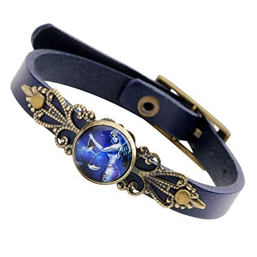 ZGRJIUERYI paar leren armbanden, retro lederen armband blauw creatieve mode eenvoudig wild twaalf sterrenbeeld weegschaal student paar unisex riem gesp armband gepersonaliseerde kleding accessoires sieraden