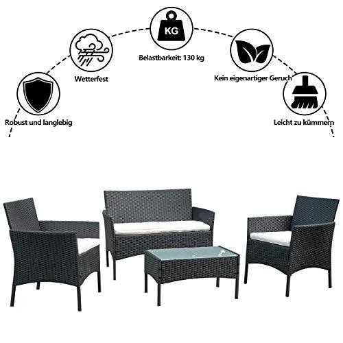 VINGO Balkon Möbel Set Poly Rattan Gartenmöbel inkl. 2er Sofa, Singlestühle, Tisch und Sitzkissen Hochwertige Sitzgruppe Schwarz für Garten Terrasse - 2