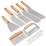 7 spatula - HaSteeL Metal Spatula Set of 7, Stainless Steel Griddle Accessories Kit with Wooden Handle, Heavy Duty Griddle Spatula Tools Great for Outdoor BBQ Flat Top Teppanyaki Cooking Camping Grilling