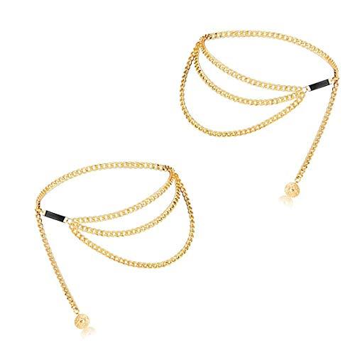 Taille Kette Gürtel Metall Chain Körper Bauch Ketten Sexy Gold 2 Packs für Bikini Damen/Girls Kleid