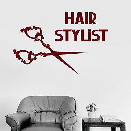 Adhesivo de pared de peluquería, tijeras de arte creativo, adhesivo de vinilo para pared, peluquería, peinado, decoración de belleza, Mural, diseño de cabello