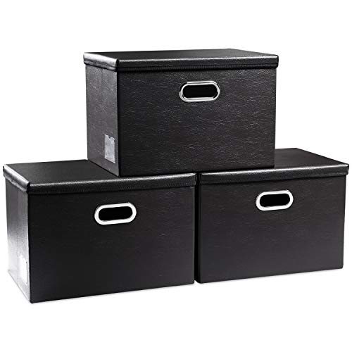 Prandom Large Foldable Storage Bins with Lids 3-Pack Leather Fabric Collapsible Storage Boxes Organizer Containers Baskets Cube with Cover for Home Bedroom Closet Office Black177x118x118
