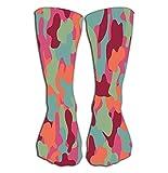 akingstore Chaussettes hautes de compression fantaisie pour homme femme et fille 50 cm Camouflage rouge vert clair Couleurs sanglantes colorées tendance lumineuse fond abstrait