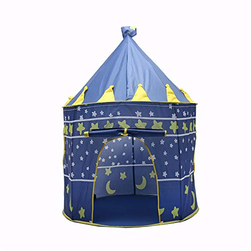 GJQDDP Tent for Kids, Foldable Children Play Tent Children's Tent Yurt Play House Princess Prince Indoor Outdoor Baby Tent,Blue