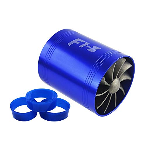 PTNHZ RACING 2.5' F1-Z Double Car Supercharger Turbine Turbo Charger Air Intake Gas Fuel Saver Fan Blue