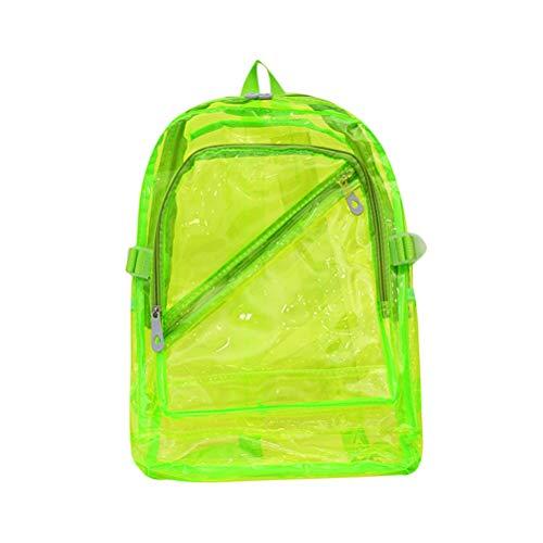 TENDYCOCO Transparenter Rucksack Jelly Clear PVC Rucksack Heavy Duty Durchsichtiger Rucksack für Mädchen Jungen Stadium Approved School College Bookbag - Grün
