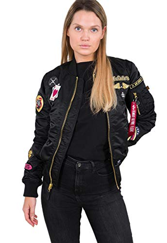 Alpha Industries Women Bomber Jacket MA-1 Custom, Größe:XS, Farbe:Black