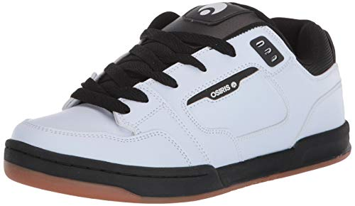 Osiris Men's Trace Skate Shoe, White/Black/Gum, 8.5 M US