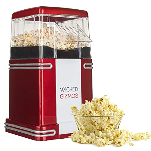 WICKED GIZMOS  New Retro Electric Healthy Fat Free Popcorn Maker 1200w Power – Easy to Make Healthier Snack Popcorn Within 3 Mins - Comes with 6 Serving Boxes Xmas Party Gift (Energy Class A)