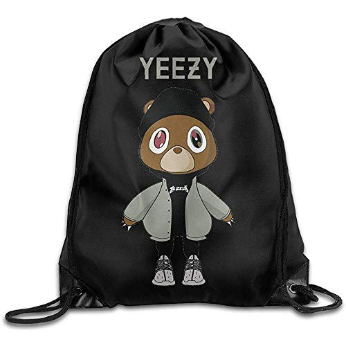 wallxxj Drawstring Bags Lucky Yeezy Kanye West Bär Kordelzug Rucksack Schule Langlebige Lässige Kordelzug Taschen Student Cinch Taschen Druck Mode Casual Unisex Besonderes Geschenk Reisen
